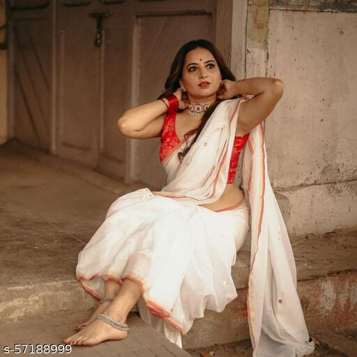 Handloom Solid Khadi Sequence Saree