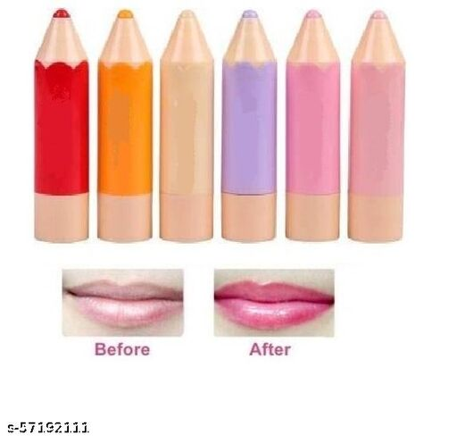 Crayons Pencil Shape Lip Balm Lip Moisturizing Stick (6 Pcs)  (Multicolor