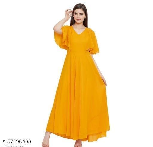 Women Yellow Solid Frill Maxi Dress