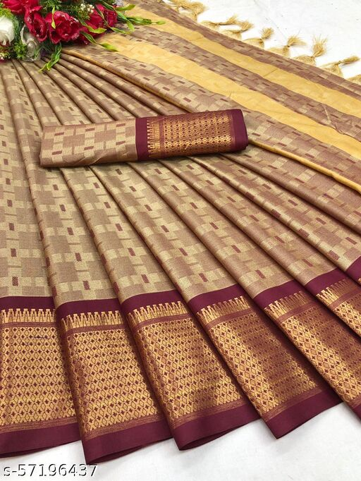 Beige & MAroon Soft Jute Silk Woven Saree With Woven Un-Stitched Blouse