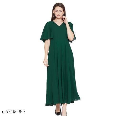 Women Dark Green Solid Frill Maxi Dress