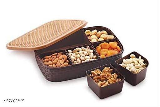 HOMEINN  6 Sections Multipurpose Dry Fruit Chocolates Mouth Freshner Masala Box Spice Set  (Plastic)
