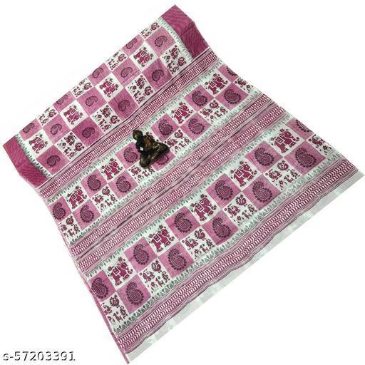 Women's Malai Cotton Printed Sarees, Bengal's Beautiful Malai Cotton Block Printed Saree