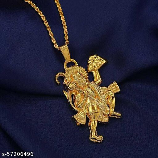 Gold Plated White CZ Small and Cute, Religious Hindu God Chain Pendant for Unisex