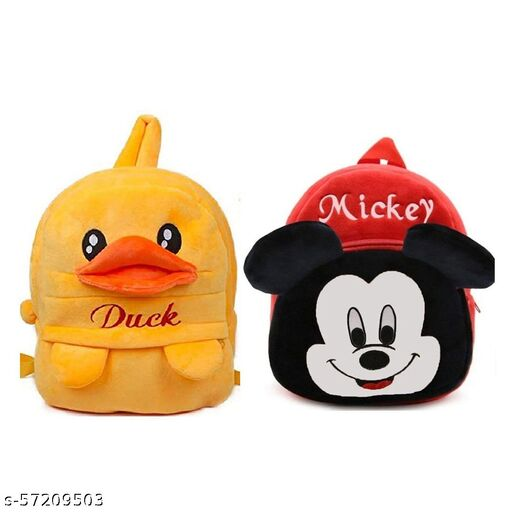 Kids Cartoon Bags Soft Plush Backpack Combo Cartoon Bags Mini Travel Bag for for Girls Boys Toddler Baby (Duck + Mickey)