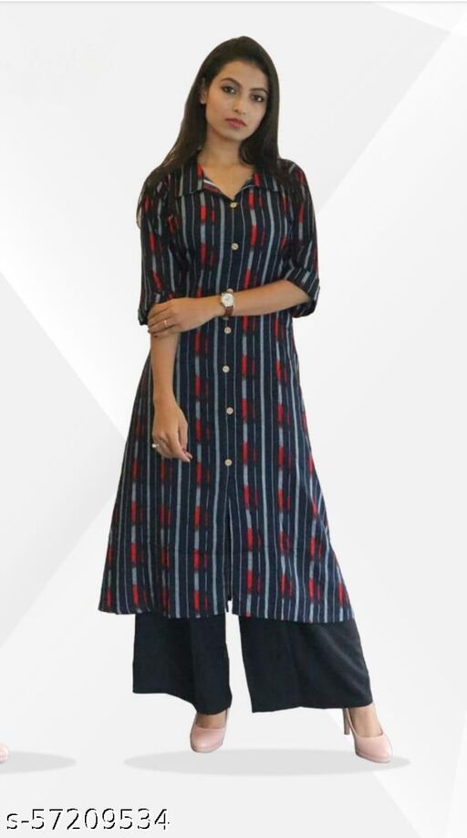 2 Colour A-Line Printed Front Slit Women's Kurti-Stripes Style