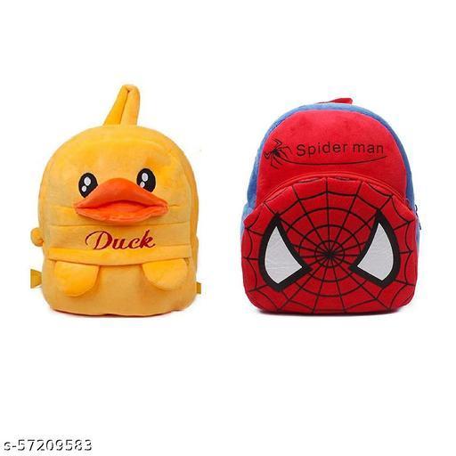 Kids Cartoon Bags Soft Plush Backpack Combo Cartoon Bags Mini Travel Bag for for Girls Boys Toddler Baby (Duck + Spiderman)