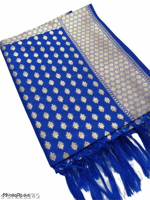 Banarasi Style Blue & Golden Woven Design Dupatta.