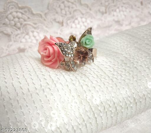 Beautiful Pink Rose & Butterfly Ring With Crystal Stones For Girls & Women