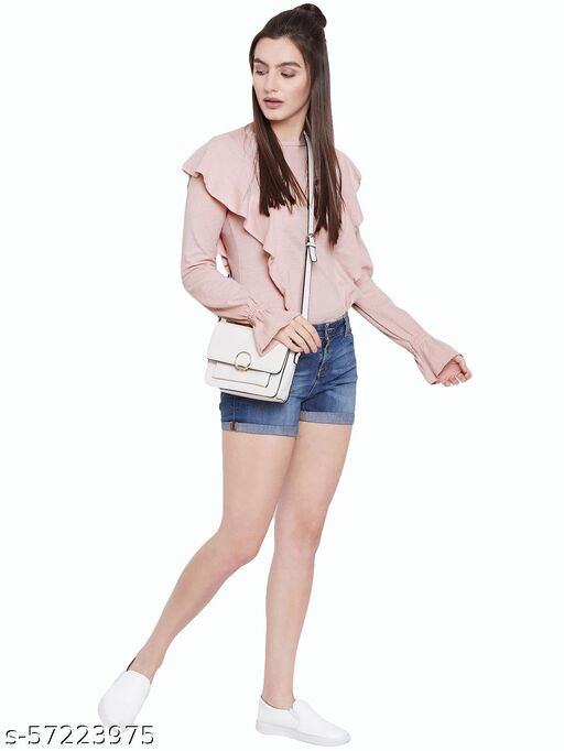 Pink Ruffle Embellished Solid Top In Knit
