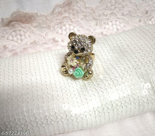 Teddy Bear Pearly Floral Ring For Girls