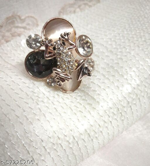 Frogy Style Ring With Crystals & Stones For Girls & Women