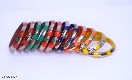 Katheriya Enterprises Multicolored glass kada set for women and girls pack of 12 kada