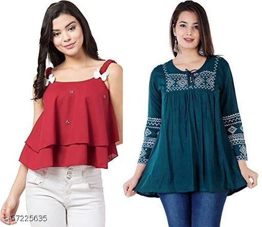 Women's Trendy Casual Stylish Crop length Sleeveless Top-Slim Fit and Regular A-Line Embroidered Top-Fine Embroidery-Casual Wear-Short Kurti-Combo Pack of 2- Multicolor set