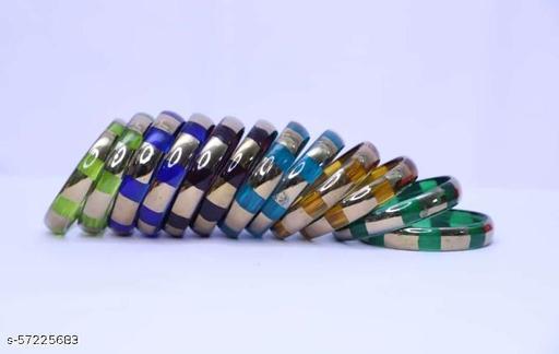 Katheriya Enterprises Multicolored glass kada set for women pack of 6 colours