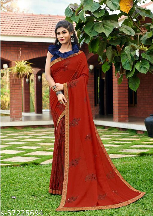 PARTY WEAR PRINTED SAREE WITH CONTRAST COLOUR BLOUSE