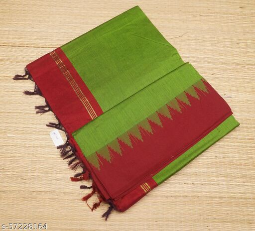 SRT Best selling  & 100% Premium Quality Traditional & Trendy Gadwal Kalyani Cotton Temple Border  with Running Blouse