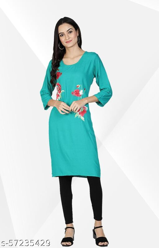Rayon Embroidery Work Straight Kurti For women
