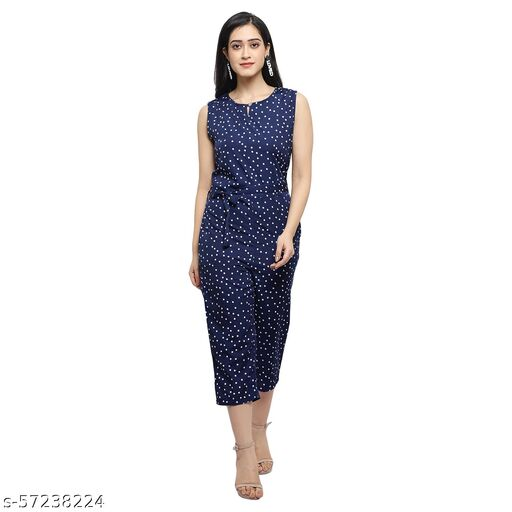 Women Casual Floral Dark Blue Sleeveless Full Length Crepe Jumpsuit