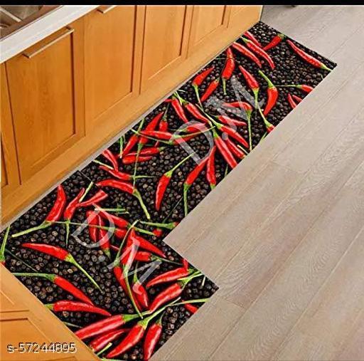 Lavi Designs Anti Skid Washable Micro Polyester Luxury Kitchen Floor Door Mat Runner, Combo Set of 2 Pcs, Large MAT (40x135 cm), Small Mat (40x60 cm) Set of 2 Pieces (mirchi)