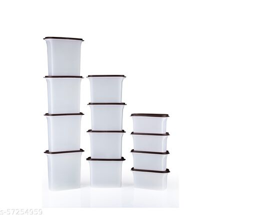 KITCHEN Woman's 1st Choice Airtight Kitchen Storage Containers / Plastic Container / Masala Box / Kitchen Containers  BROWN OVEL GROCERY CONTAINER SET OF 12 PIC 1000 ML, 1500 ML, 2000 ML