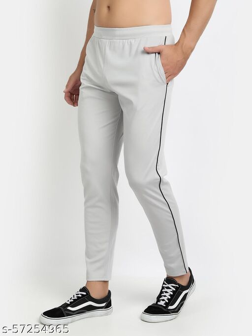 MKKO Mens Sports Solid Grey Track Pants
