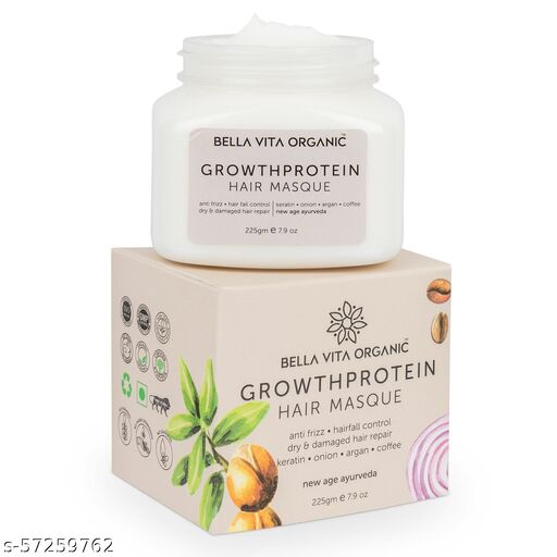 Bella Vita Organic Growth Protein Hair Spa Mask For Hairfall Control, Frizzy Hair Cream, Color Damaged Hair Repair & Growth With Keratin, Biotin, Argan, Onion, Tea Tree & Coffee, 225 g