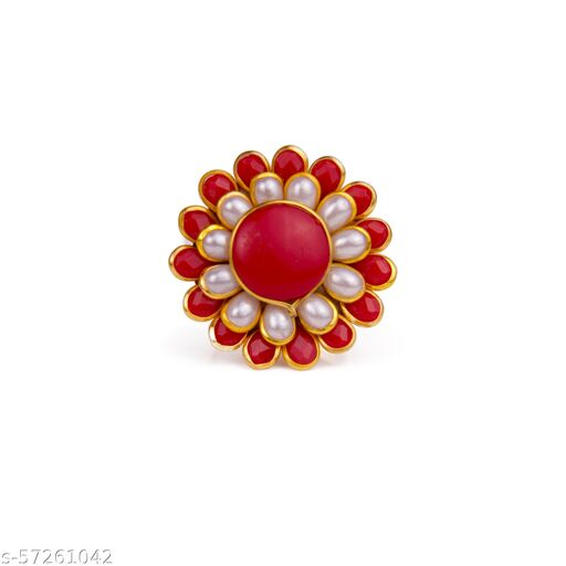 Pachi Red & White Beautiful Ring Special For Diwali Women and  Girl Traditional Julery Unique Design For Stylish Girls.