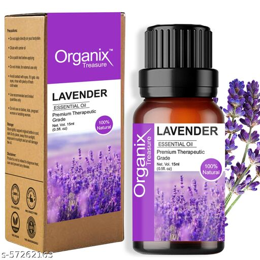 Organix Treasure Lavender Essential Oil for Relaxation, Sleep, Tension Relief, Hair Growth, Skin Care, Fragrance - 15ml