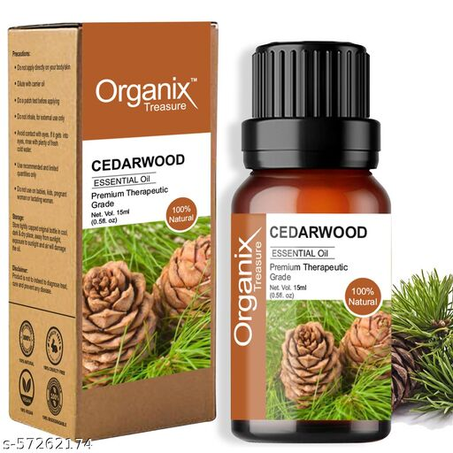Organix Treasure Natural and Pure Cedarwood Essential Oil Undiluted for Skin, Hair and Aromatherapy, 15 ml