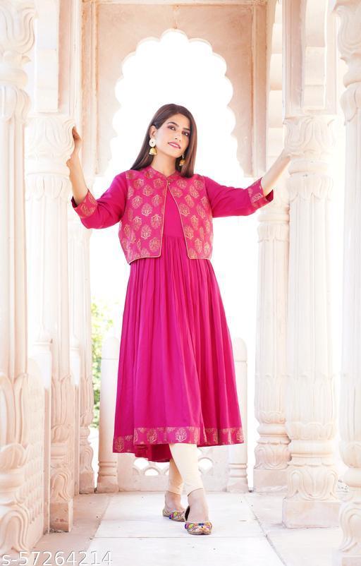 Women Self Design Anarkali Cotton Kurti With Jacket Plus Size 3XL Fastive Sale 60%-70% Off