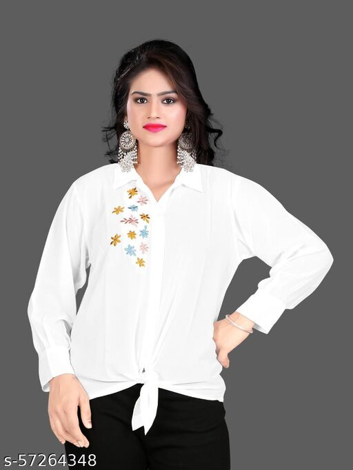 Classy Fashionable Women crop Shirt with hand emroidery