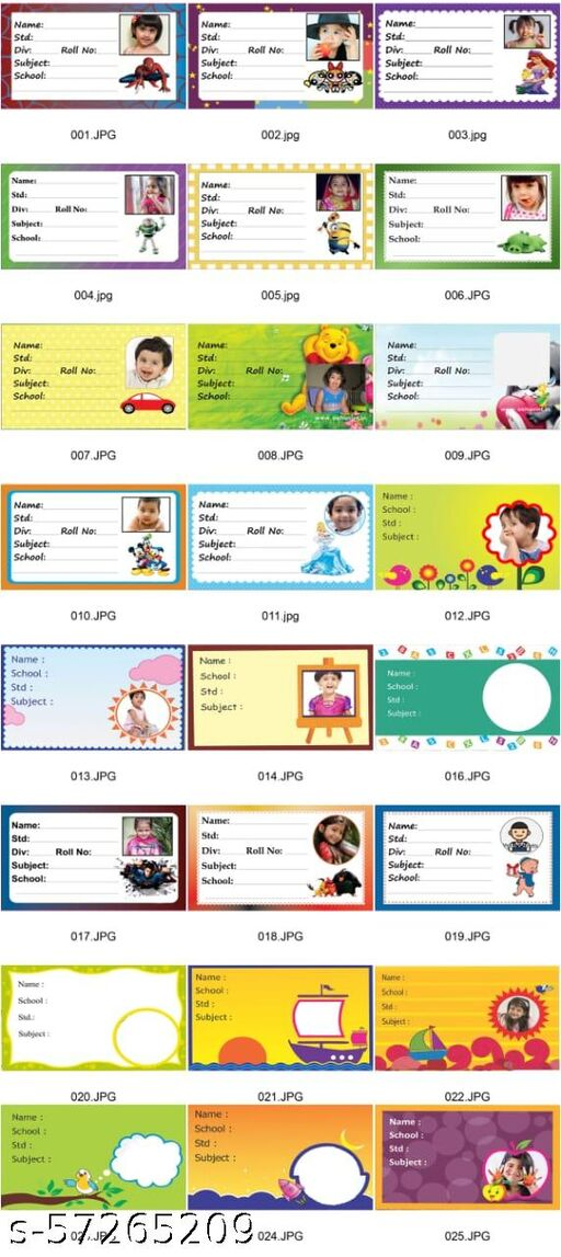 CUSTOMIZED NOTE BOOK NAME SLIPS  FOR YOUR CHILDREN