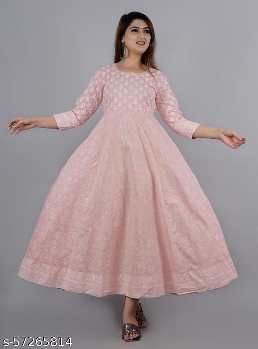 Women Cotton Stylish Pink Kurti Cum Gown