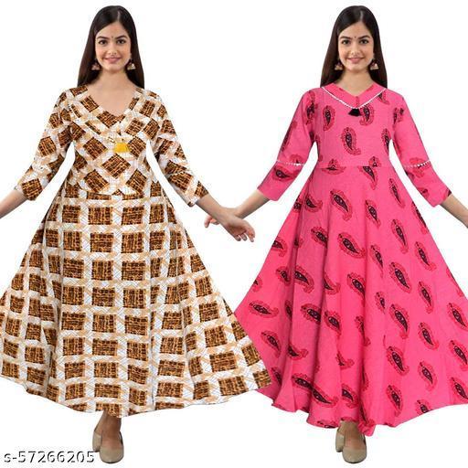 Aponiya Women's Ethnic Wear Gotta Patti Fashion Kurties (Combo Pack Of 2)