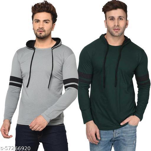 Bribzy Men's Full Sleeve Double Hood (Steel Grey, Bottle Green) Pack Of 2