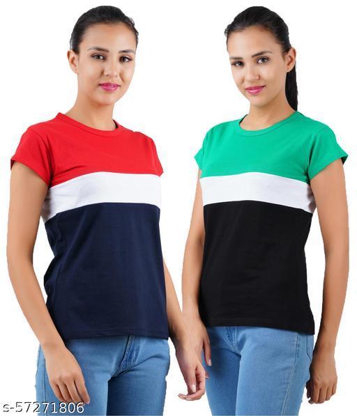 CHECKERSBAY  Women Round Neck Multicolor T-Shirt