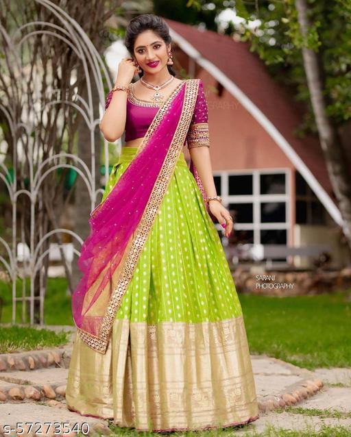 ROSE VILLA Kanjiveram Silk Zari lehanga with blouse along with cutwork Duppta HALF SAREE