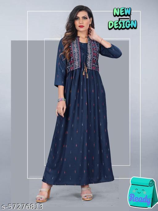 Womens Designer Anarkali Printed Kurti With Printed Jacket (NavyBlue)