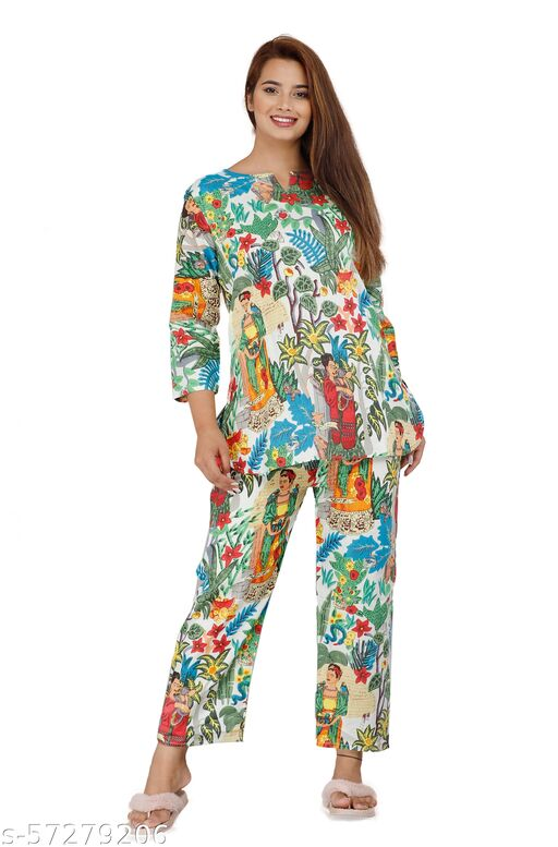 pure cotton Hand Block Printed night suit set for women