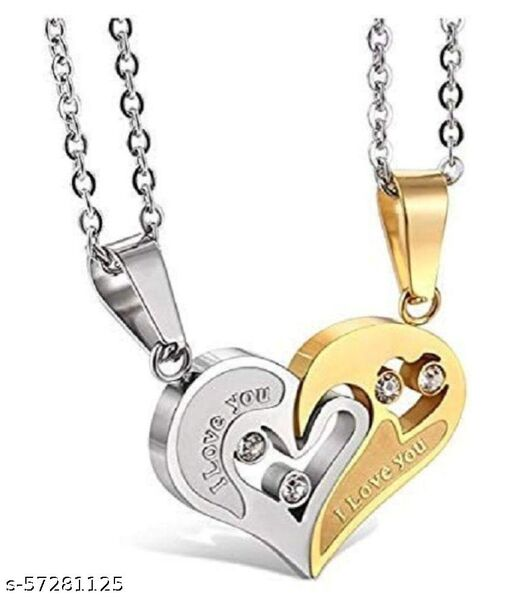Stylish Valentine Special Heart Shape Pendant For Couples(Yellow)