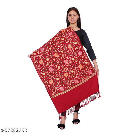 Stolr Embroidered Women Maroon Shawl