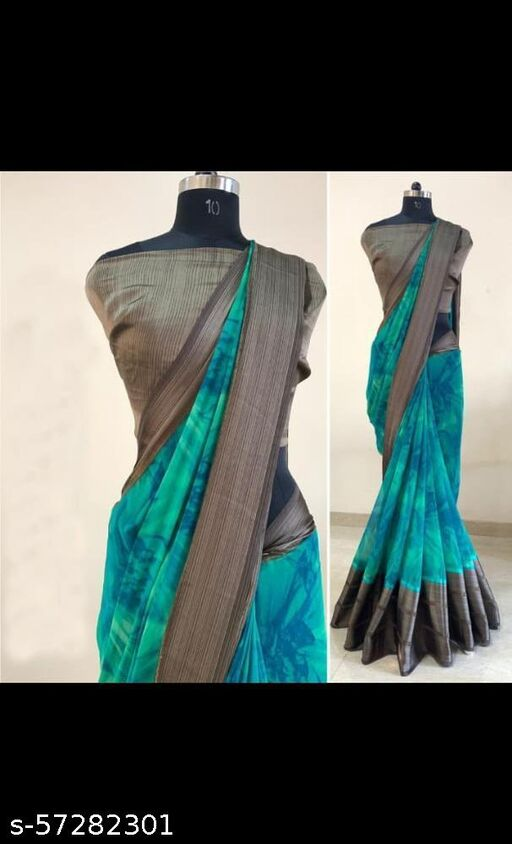 WOMEN'S BEAUTIFUL PRINTED  SATIN  SAREE WITH SATIN  BORDER  AND UNSTICHED BLOUSE