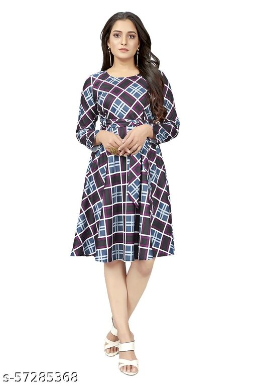 Boddh  Women's Fit And Flare Fancy Western Cotton Checks printed Midi Dress
