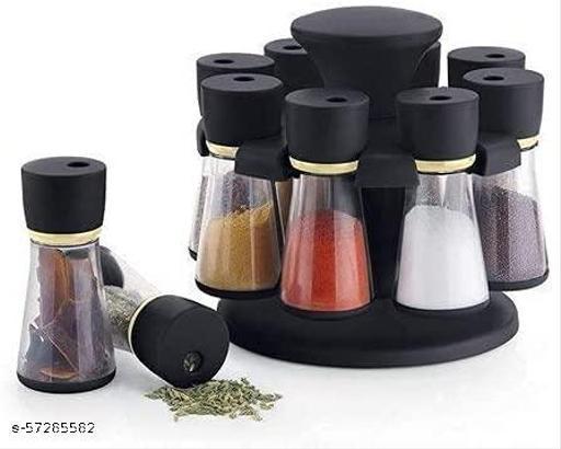 LAZYwindow Premium Multipurpose Revolving Plastic Spice Rack Masala Organiser - 8 Pcs Set