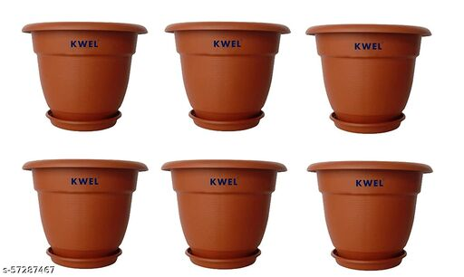 KWEL Plastic Planter Pots with Bottom Tray Color Terracotta (10 Inch, Pack of 6)