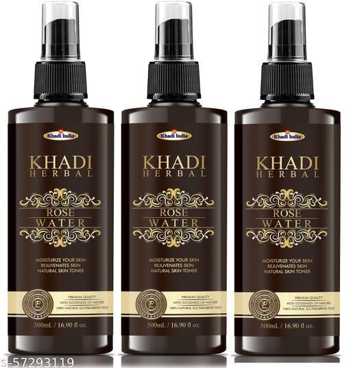 Parwati  Khadi Herbal 100% Pure & Natural Rose Water - For Skin, Face 500 ml ( Pack Of 3 )