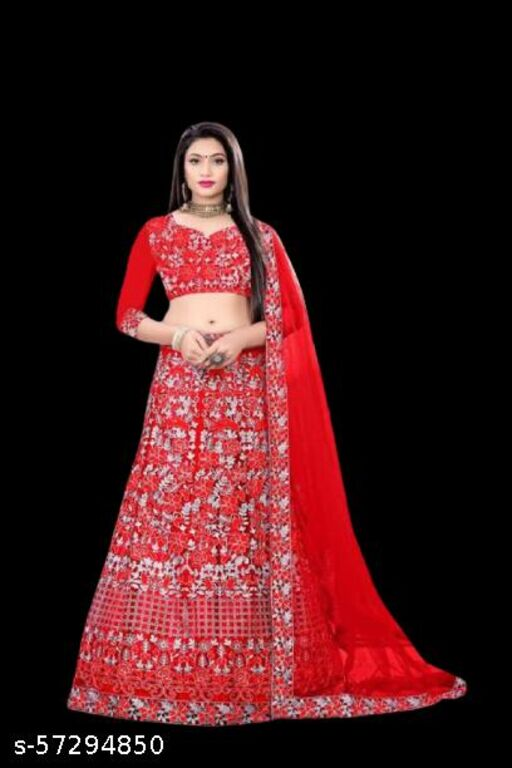 stylist net lahenga with embroidery design work