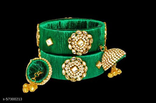 NB Crafted Hand Made Silk Thread Bangle set For Women With Stone Work