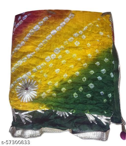 Jaipuri Rajasthani Women Silk Bandhani Bandhej Multi-Colored Heavy Dupatta with Gota Work and latkan